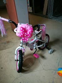 toddler's white and pink bicycle with training wheels Farmington, 48335
