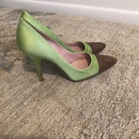 pair of green leather pointed-toe heeled shoes Falls Church, 22046