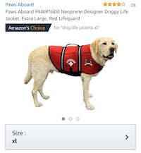 New, unused  Paws Aboard Neoprene Designer Doggy Life Jacket, Extra Large, Red Lifeguard 514 km
