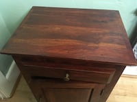 Nightstand Dark Stain Hardwood Cabinet Drawer Emeryville