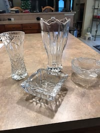 two clear cut glass vases Jackson, 08527
