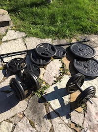Weight set with dumbbells and bar