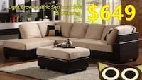 Brand new light brown fabric sectional sofa with ottoman warehouse sale  多伦多