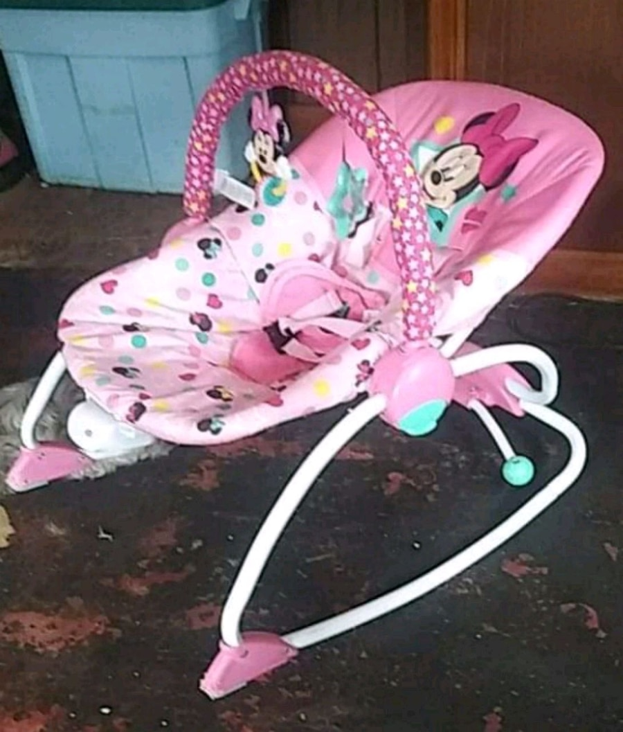 Used, baby's pink and white bouncer for sale  Warren