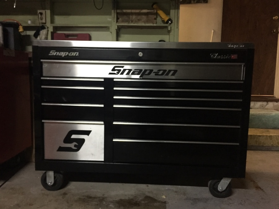 Black and gray Snap On tool chest - Fullerton