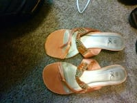 pair of orange-and-silver high heeled sandals McDonough, 30252
