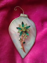 Green and white gemstone studded floral pendant Kelowna