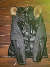 black leather bubble parka Laval