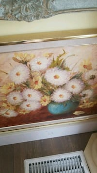white and yellow flower painting Montréal, H3R 2E6