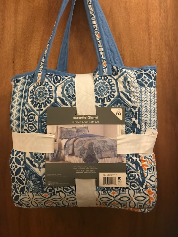 white and blue floral tote bag