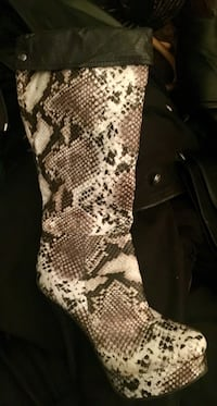 Brown and gray snakeskin leather stiletto boot( brand new)