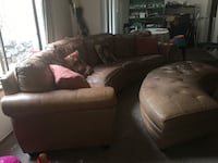 Beige leather 4 seats couch and 2 ottomans with storage SeaTac, 98198
