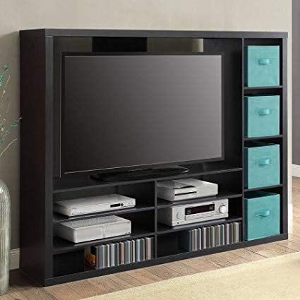 "Mainstays Entertainment Center for TVs up to 55"", Ideal TV Stand for Flat Screens, Black (New in Box)"