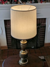 "Beautiful 36"" antique solid metal lath turned Brass lamp.  Arlington"