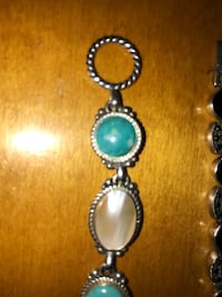 Silver turquoise mother-of-pearl bracelet
