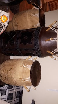 4 big antique drums. Hand crafted cow skin on mahogany wood. Good for decor and museum  Edmonton