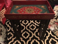 Black and red wooden side table Sturtevant, 53177