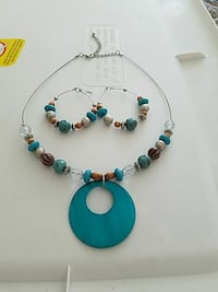 Beautiful Teal and brown Necklace/Earring Set 107 mi