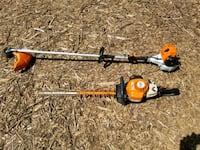 orange and black hedge trimmer and gas string trimmer