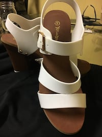 pair of white leather open-toe ankle strap heels Lancaster, 17603