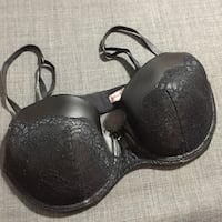 black lace & faux leather underwire bra 38D