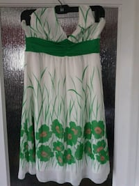 green and white floral spaghetti strap dress Calgary, T2T
