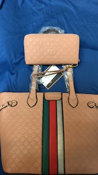 Monogrammed brown gucci leather tote bag