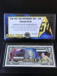 Star Trek 50th anniversary colorized $2 bill DALYCITY