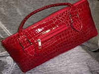 NEW ! CHERRY RED patent leather embossed EXOTIC SKIN unusual design HANDBAG PURSE