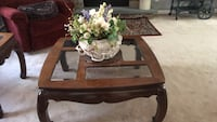 brown wooden framed glass top coffee table Washington, 20024