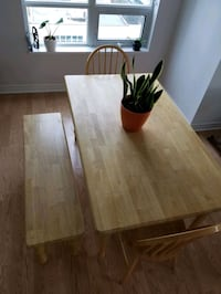 Wood Dining Table with 2 Chairs and Bench Toronto, M4R 1A1