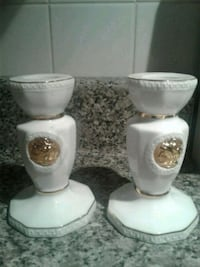 White and gold candle holders  Montreal, H8N 2S5