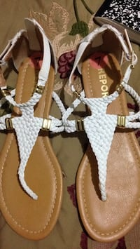 pair of brown-and-white sandals McAllen, 78501