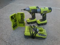 green and black cordless power drill