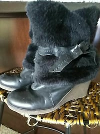black leather wedge winter boots Alexandria
