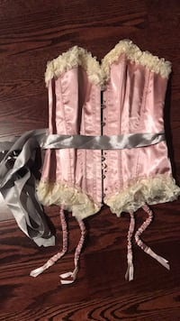 Beautiful sexy pink & lace corset - grey ribbon