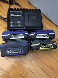 18v Kobalt lithium ion batteries and charger combo. Toronto, M9R 1X8
