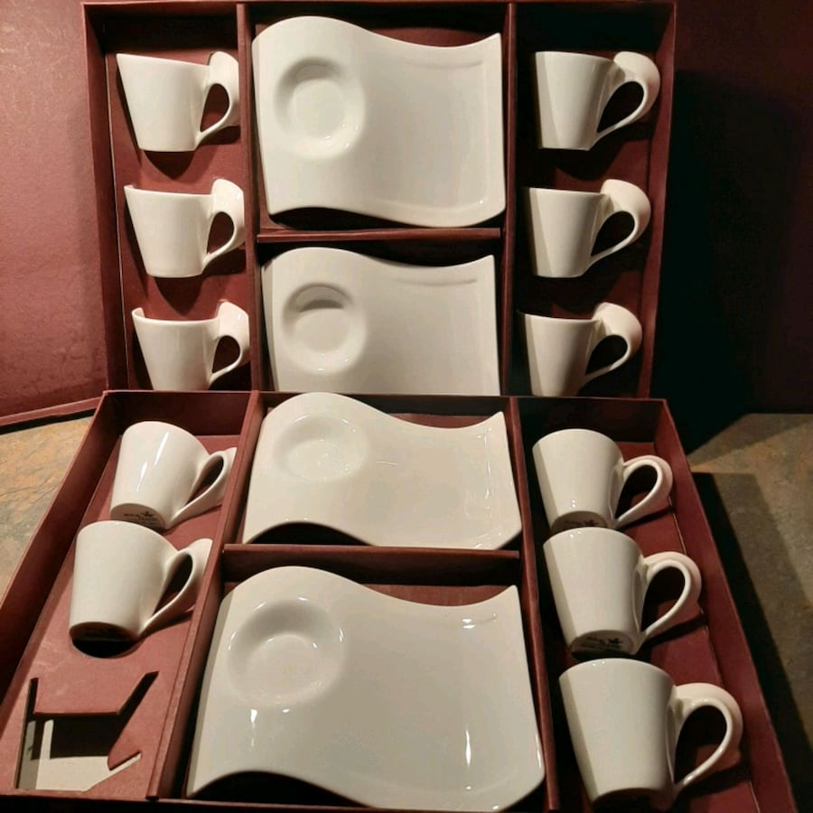 Wave saucer and cup espresso sets
