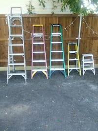 two white metal ladder back chairs McKinney, 75069