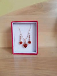 Red Heart Earrings & Necklace Set  Toronto, M9L 2C7
