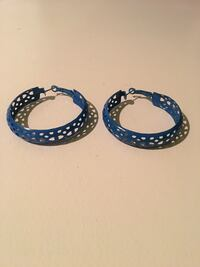 Blue hooped earrings, with heart cut outs Maple Ridge, V2W 1K1