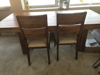 Dining room table with chairs and bench solid wood from Macy's. Table 78 in long, 39 in wide, 40 in high. Champagne 4-Piece 563 mi