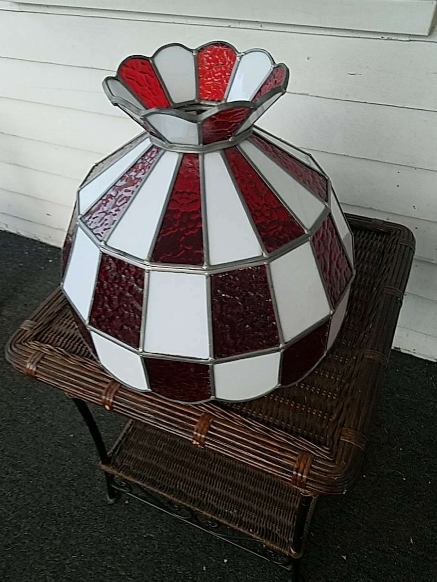 white and red stained glass pendant lamp