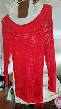 red knitted scoop neck sweater Stafford, 22554