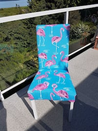 blue and pink Flamingo padded parson chair