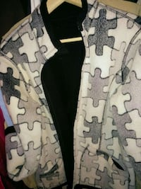 white black and beige jigsaw puzzle full zip jacket
