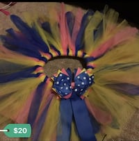 toddler's blue, pink, and yellow tutu skirt