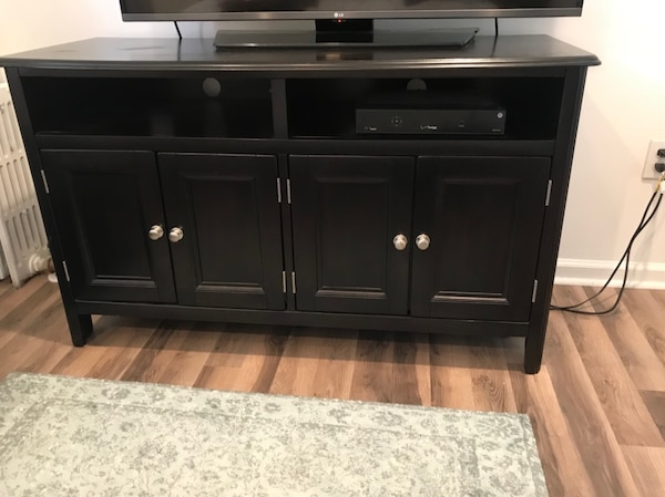 Used Black Wooden Tv Stand Ashley Furniture 50inchx29x19 For Sale