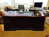 Extra large mahogany desk & credenza. 7' long. needs some polish and hardware.  it it is rick solid mahogany and very heavy. currently in storage in pb. It is disassembled. San Diego, 92109