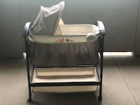 baby's white and black bassinet